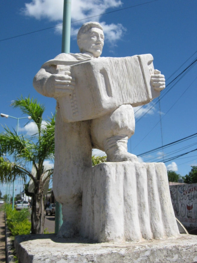 Statue to chamamé music. Santuario de Gauchito Gil, Pay Ubre. photo © Lorraine Caputo