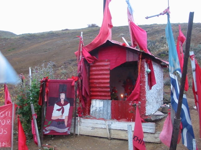 A roadside shrine to Gauchito Gil near RíoTurbio, in Argentina's southern Patagonia. © Lorraine Caputo