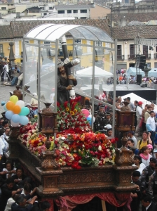 Quito's Good Friday procession is dedicated to the Señor de Gran Poder (Lord of Great Power). He is the patron saint of Ecuador's police forces. photo © Lorraine Caputo