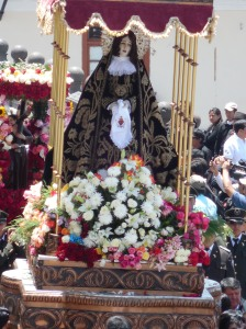 The Virgen Dolorosa's black dress is embroidered with gold thread. Her halo is made of fine silver filigree. photo © Lorraine Caputo